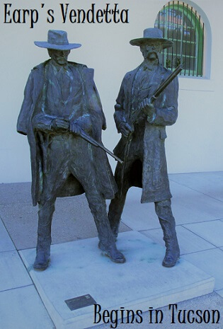 Statue of Wyatt Earp with Doc Holliday by the Tucson Train Depot